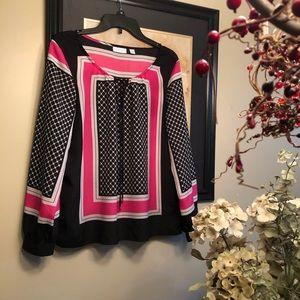 NEW YORK &COMPANY PRINT black, pink blouse, size L
